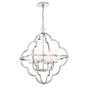 Douville Chrome 22.75-Inch 4-Light Chandelier