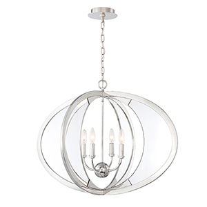 Amherst Polished Nickel 31-Inch 4-Light Chandelier