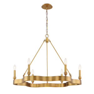 Leyton Antique Brass Six-Light Chandelier