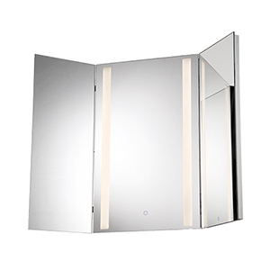 Tri-Fold Mirror Chrome 43.5-Inch LED Mirror