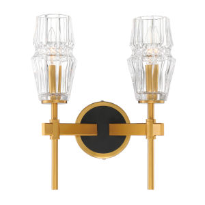 Gladstone Antique Brass and Black Two-Light Wall Sconce