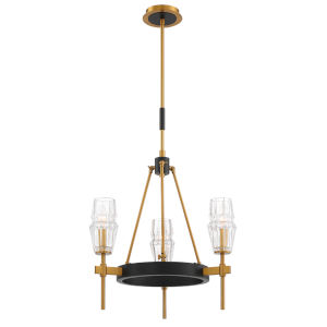 Gladstone Antique Brass and Black Three-Light Chandelier