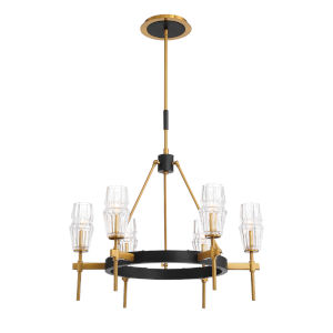 Gladstone Antique Brass and Black Six-Light Chandelier