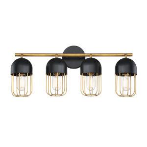 Palmerston Black Four-Light Vanity Bar