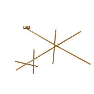 Crossroads Antique Brass Nine-Light LED Flush mount