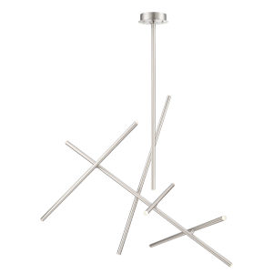 Crossroads Satin Nickel Ten-Light LED Chandelier