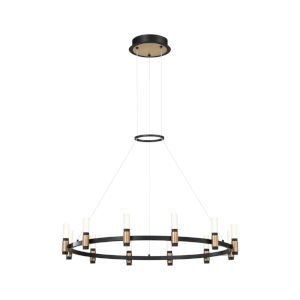 Albany Deep Black and Brass Five-Inch 12-Light LED Chandelier