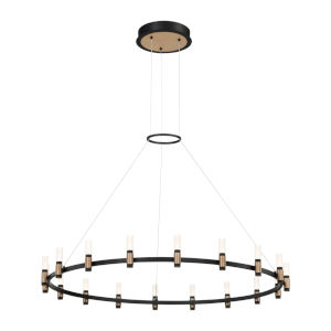 Albany Deep Black and Brass 18-Light LED Chandelier