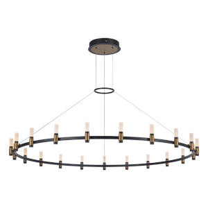 Albany Deep Black and Brass 21-Light LED Chandelier