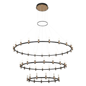 Albany Deep Black and Brass 51-Light LED Chandelier