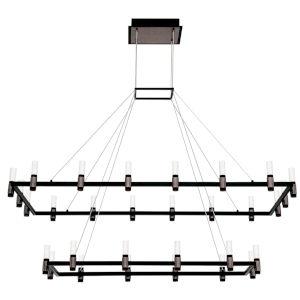Altamont Satin Nickel and Black 27-Inch 30-Light LED Chandelier