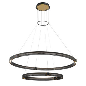 Admiral Matte Black and Gold Two-Inch LED Chandelier