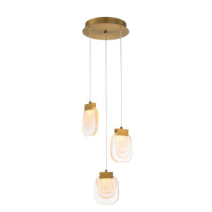 Paget Gold Three-Light LED Chandelier