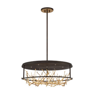 Aerie Bronze and Gold Seven-Light Round LED Chandelier