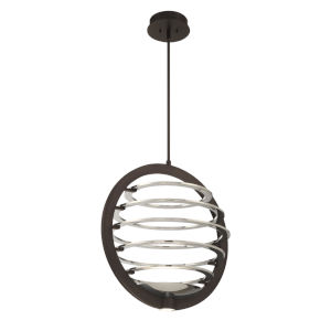 Ombra Dark Bronze and Polished Nickel 22-Inch Width Two-Light LED Chandelier