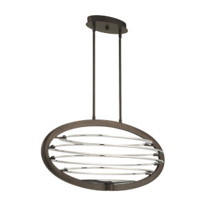Ombra Dark Bronze and Polished Nickel Two-Light Oval LED Chandelier