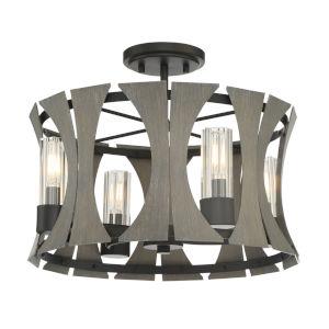 Pennino Matte Black and Gray Four-Light LED Semi Flush Mount