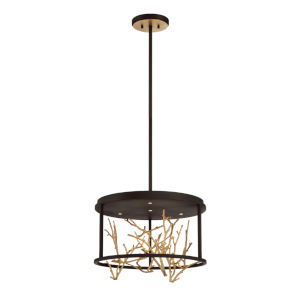Aerie Bronze and Gold Four-Light Round LED Chandelier