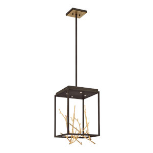 Aerie Bronze and Gold Four-Light Square LED Chandelier