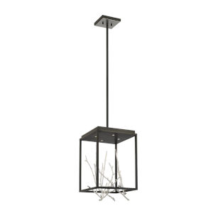Aerie Black and Silver Four-Light Square LED Chandelier