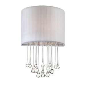 Penchant Chrome / White One Light Wall Sconce with White Fabric Shade
