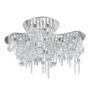 Alissa Chrome and Crystal Eighteen-Light Flush Mount