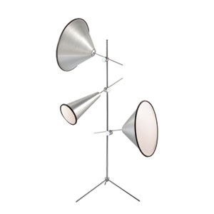 Manera Aluminum Three Light Floor Lamp with Aluminum Shade