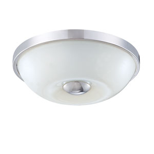 Motion Chrome One Light Small Flushmount with White Glass Shade