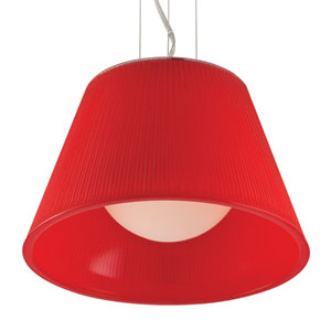 Ribo Chrome One Light Small Pendant with Red Shade