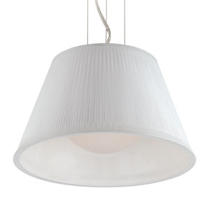 Ribo Chrome One Light Small Pendant with White Shade