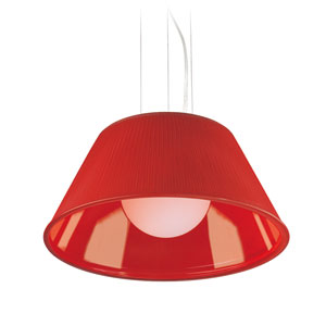 Ribo Chrome One Light Large Pendant with Red Shade