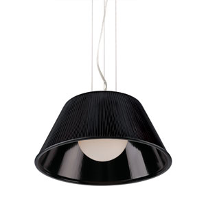 Ribo Chrome One Light Large Pendant with Black Shade