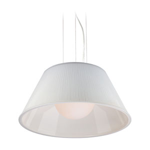 Ribo Chrome One Light Large Pendant with White Shade