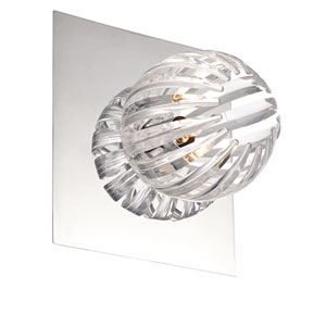 Cosmo Chrome One Light Wall Sconce with Clear Shade