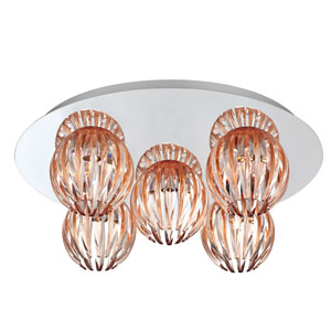 Cosmo Chrome Five Light Flushmount with Amber Shade