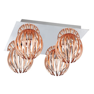 Cosmo Chrome Four Light Flushmount with Amber Shade