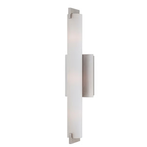 Zuma Brushed Nickel Three Light Wall Sconce with Opal White Shade