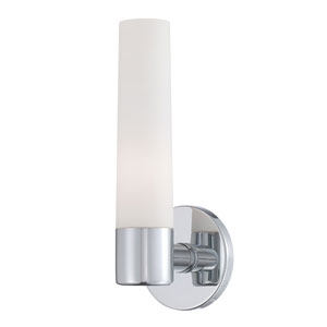 Vesper Chrome One Light Wall Sconce with Opal White Shade