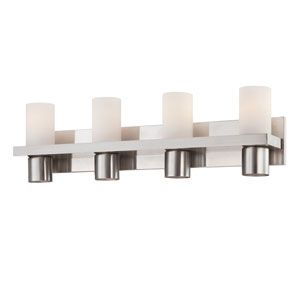 Pillar Brushed Nickel Four Light Bath Fixture with Opal White Shade