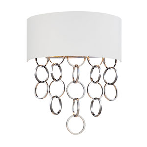 Novello Chrome Two Light Wall Sconce with White Shade
