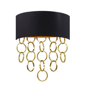 Novello Gold Two Light Wall Sconce with Black Shade