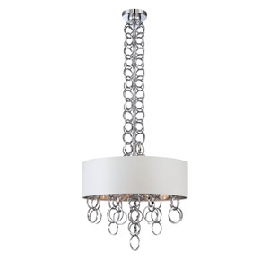 Novello Chrome Four Light Pendant with White Shade