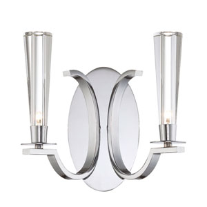Cromo Chrome Two Light Wall Sconce with Clear Glass Shade
