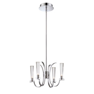 Cromo Chrome Four Light Chandelier with Clear Glass Shade