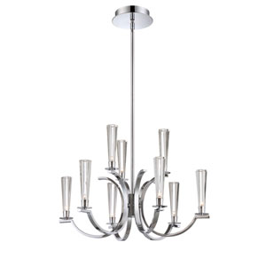 Cromo Chrome Nine Light Chandelier with Clear Glass Shade