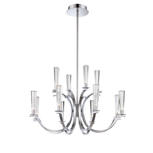 Cromo Chrome 12 Light Chandelier with Clear Glass Shade