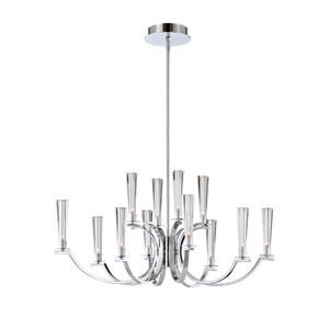 Cromo Chrome 12 Light Oval Chandelier with Clear Glass Shade