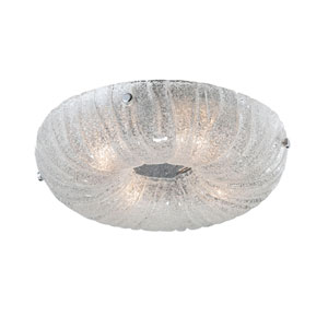Spectra Clear Four Light Square Flushmount with Clear Sugar Glass Shade