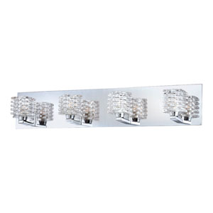 Lenza Chrome Four Light Bath Fixture with Clear Glass Shade