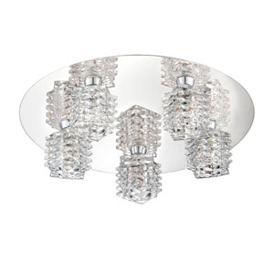 Lenza Chrome Five Light Flushmount with Clear Glass Shade